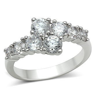 3W132 Rhodium Brass Ring With AAA Grade CZ in Clear