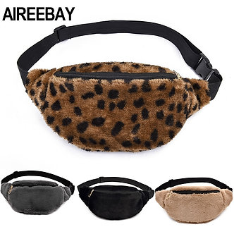 AIREEBAY 2019 Autumn Winter Style Women Waist Bag Female Imitation Fur Fanny