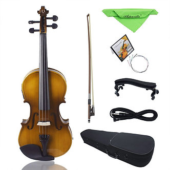 4/4 Full Size Acoustic EQ Electric Violin Fiddle Kit Solid Wood Spruce Face