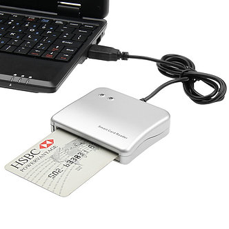 2 Pcs Easy Comm USB Smart Card Reader IC/ID Card Reader for Windows/ Linux/