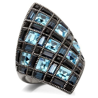 0W235 Ruthenium Brass Ring With Top Grade Crystal in Sea Blue