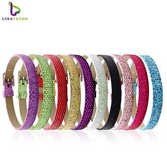 "10PCS 8MM PU Leather Glint DIY Wristband Bracelets "" Can Choose the Color"