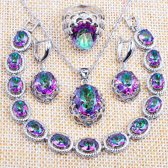 Amazing Bridal Jewelry Sets Women's Top Crystal Wedding Gifts Multicolor