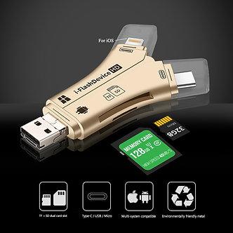 4 in 1 Card Reader USB Type-C Micro USB Lighting High-Speed Universal Card