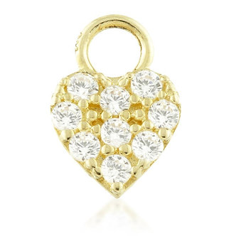 9ct Gold CZ Heart Charm for Plain Clicker Hoop