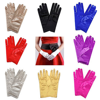 1PC Women Satin Short Finger Wrist Gloves Smooth Evening Party Formal Prom