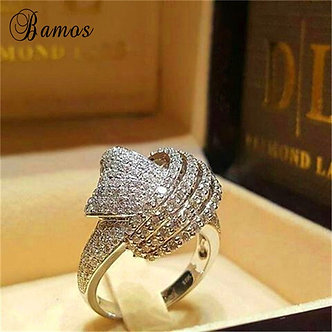 Bamos Winding Knot Cross Ring Gorgeous Hollow White CZ Ring for Women White Gold