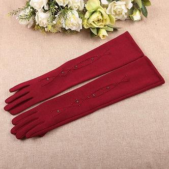 Autumn Winter New Woman Gloves Medium and Long Section Spun Velvet Finger