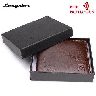 100% Genuine Leather Wallet Men New Brand Purses for Men Black Brown Bifold