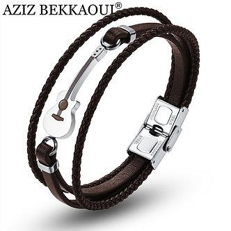 AZIZ BEKKAOUI Brown Stainless Steel Guitar Bracelets Black Fashion Logo