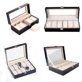 5/6/10/12 Grids PU Leather Watch Box Case Holder Organizer for Quartz Watches