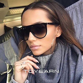 2021 New Fashion Flat Top Oval Sunglasses Women Luxury Brand Designer Vintage