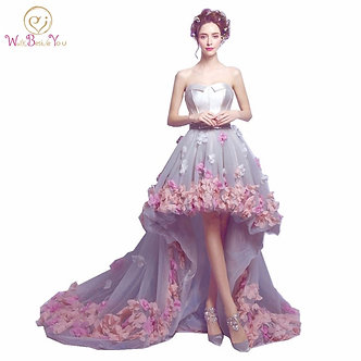 2020 Flowers Prom Dresses Short Front Long Back Evening Gown Gray Organza