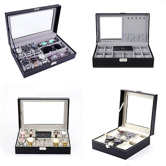 6/6+3/8+2 Grids Storage Watch Box 8/10/12 Grids PU Leather Watch Holder