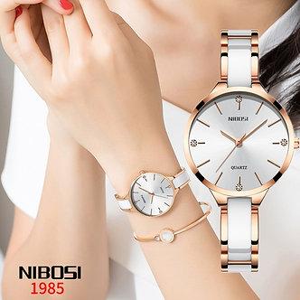 2021 NIBOSI Watch Luxury Women Watch Ladies Creative Women's Ceramic Bracelet