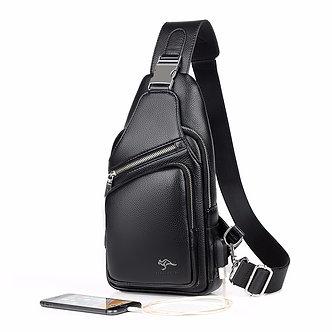 2021 Jackkevin Fashion Mens Shoulder Bag Burglarproof Black Leather Mens Chest