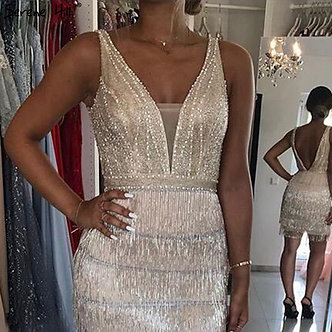 2020 Champagne V-Neck Sexy Short Dresses Beading Tassel Party Cocktail