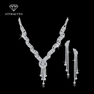 ATTRACTTO Custom Fashion Rhinestone Wedding Jewelry Set Tassel Necklace Earrings