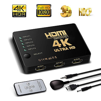 4K HD HDMI Splitter Cable 1080P 5into Port for HDTV DVD TV XBOX PS3/4 Z2 LAPTOP
