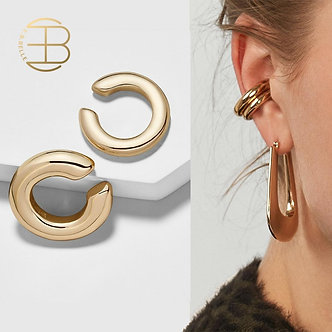 2pcs/Set Stylish Gold Color Small and Big Clip Earrings Without Piercing Women's