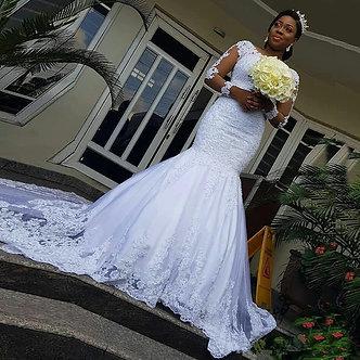 African Long Sleeves Wedding Dress 2021 Beaded Applique Vestidos De Novia