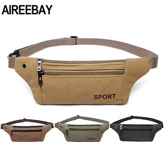 AIREEBAY Men Casual Durable Fanny Waist Pack Male Waist Bags Belt Canvas New