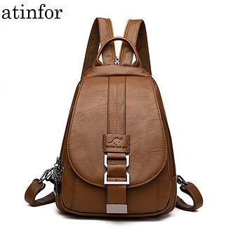 Atinfor Brand Anti Theft Women Leather Backpacks Purse Vintage Female