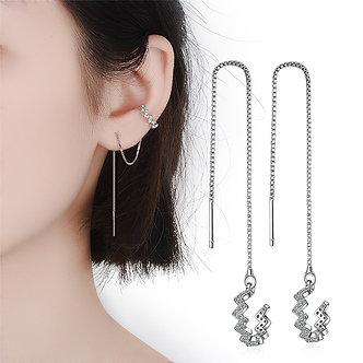 1 Pieces 925 Sterling Silver Tassel Ear Cuff Female Long Line Ear Clip Design