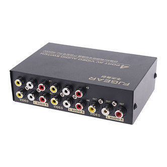 4 Port Input 1 Output Audio Video AV RCA Switch Switcher Selector Box New 2019