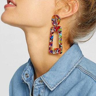2019 Fashion Tortoise Color Clip on Earrings Leopard Acrylic Long Geometric