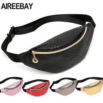 AIREEBAY Brand Designer Women Fanny Packs Retro Style Girls Belt Bag PU