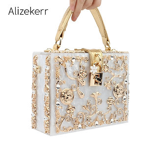 Acrylic Box Evening Bags Women Luxury Flowers Lock Diamonds Stone Pattern Small