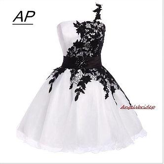 ANGELSBRIDEP Romantic Summer Homecoming Dresses One Shoulder White Pink Vestido