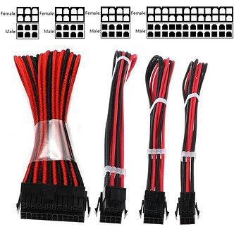 1 Set Basic Extension Cable Kit ATX 24Pin/ EPS 4+4Pin / PCI-E 6+2Pin/ PCI