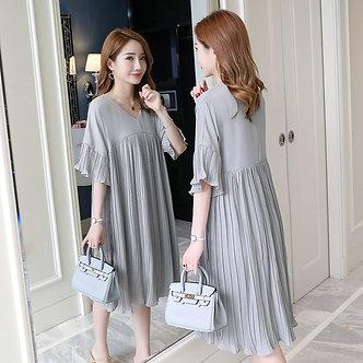 5305# 3XL v Neck Pleated Chiffon Maternity Dress 2019 Summer Korean Fashion