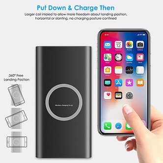 Qi Wireless Charging Portable Charger 10000mAh Power Bank Battery iPhone/SAMSUNG