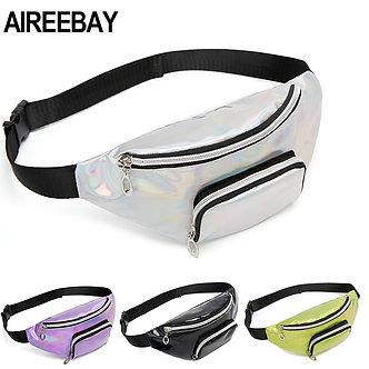 AIREEBAY Holographic Fanny Pack for Women Silver Female Belt Bag Black Laser