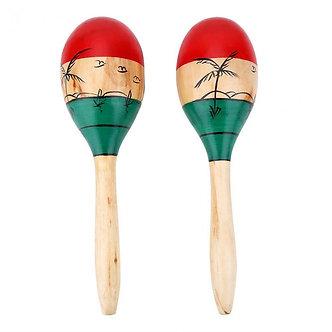 1 Pair Wooden Maracas Durable Large 25cm Musical Educational Instrument