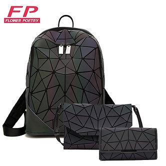 3pcs Set Women Backpack Holographic Luminous Ladies Back Pack School Backpacks