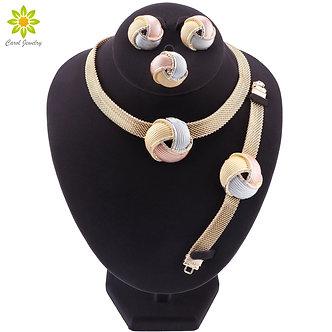 African Dubai Gold Bridal Jewelry Sets for Women Bracelet Earrings Wedding