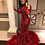 Thumbnail: 2021 Red Plus Size Long Sleeve Mermaid African Prom Dresses With Feathers Train