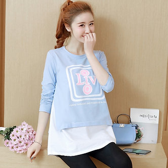 2835# Lovely Printed Cotton Patchwork Maternity T Shirts Spring Fashion T-Shirt