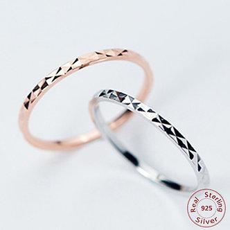 100% Real Pure 925 Sterling Silver Ring Fashion Simple Glint Gleam Fine