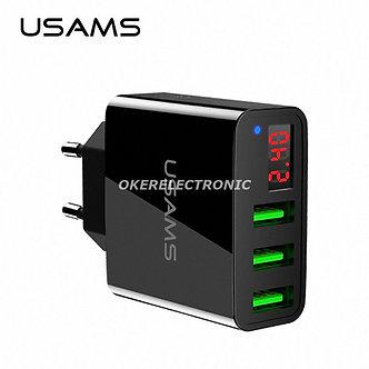 USAMS 3 Port Fast USB Mobile Phone Charger LED Display EU/US Plug Universal S005