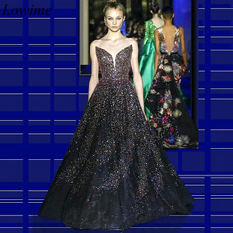 2020 Glitter Fashion Celebrity Dress Strapless Simple Prom Gowns Long Evening