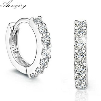 ANENJERY 925 Sterling Silver Earrings Sparkling Single Row Zircon Stud Earrings