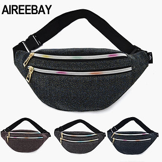 AIREEBAY Women Waist Bag New Brand Fashion Sequin Fanny Pack Casual Ladies