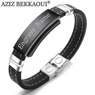 AZIZ BEKKAOUI Engrave Name Black Silicone Leather Bracelet Magnetic Stainless