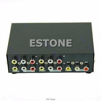 4 Port Input 1 Output Video Audio AV RCA Switch Switcher Selector Box Hot