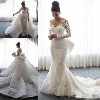 2021 Luxury Mermaid Wedding Dresses Sheer Neck Long Sleeves Illusion Full Lace